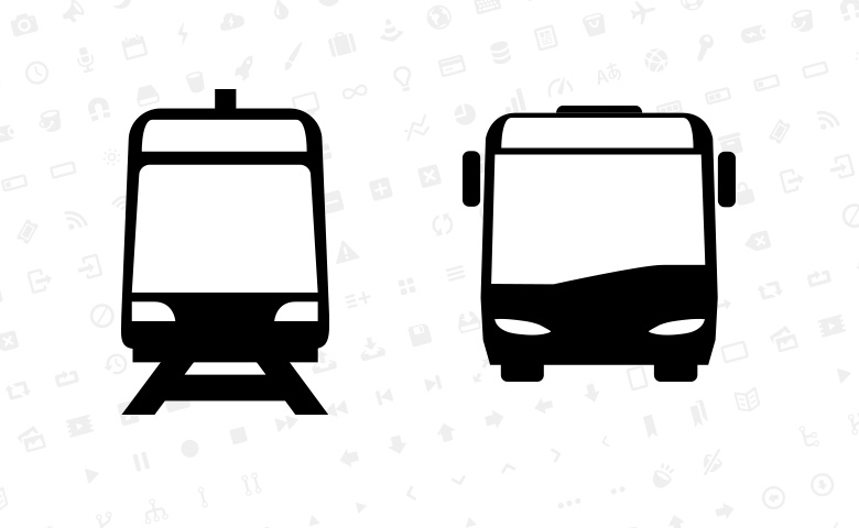 Tram and bus pictograms; Entypo icon set in the background