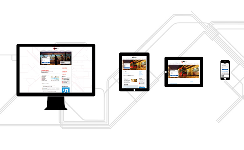 The new BSAG website adjusted to different screen sizes: Desktop-screen, tablet, tablet in landscape mode and smartphone