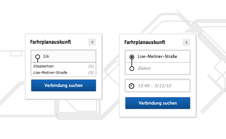 Journey planner modul in action with auto-complete function