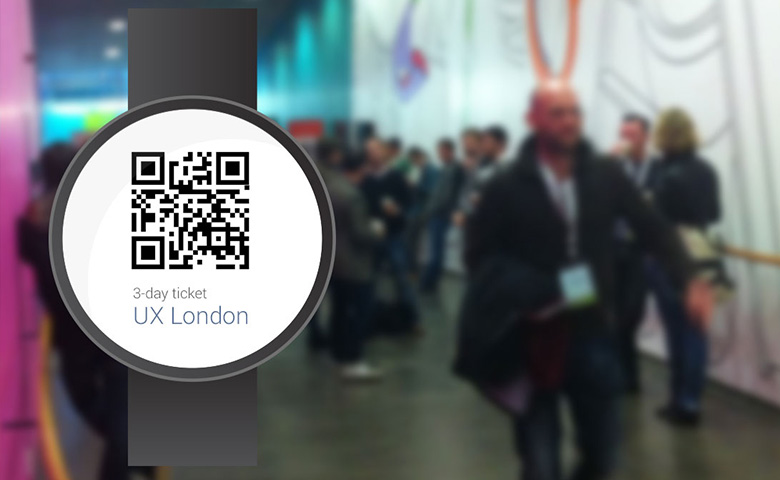Android Wear shows a QR-Code as digital ticket.