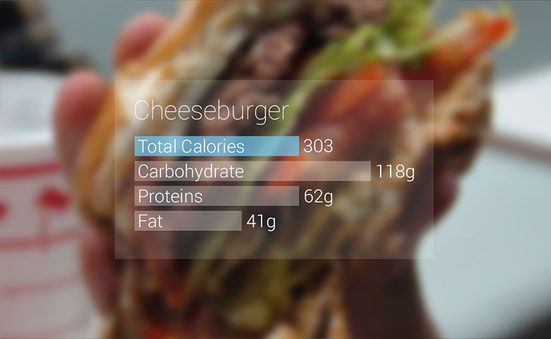 Google Glass shows nutrition facts about a cheeseburger.